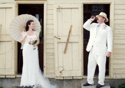 Wedding couple have a cold beer