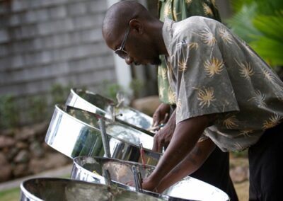 Musician playing steelpans