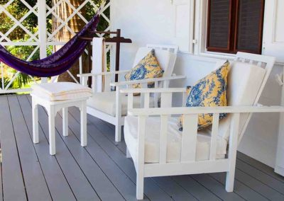 chairs, pillows and hammock