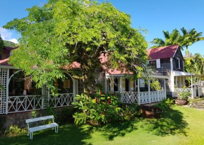 Porches and a tamarind tree